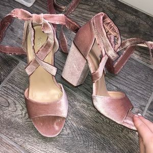 Baby pink velvet lace up ankle high heel